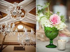 Green vintage glass ware for centerpieces