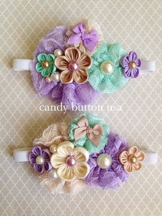 Purple Mint Flower Lace Baby Headband * Baby Hairclip * Lace Headband * Newborn Photography Prop * Flower Girl * Baby Shower Gift