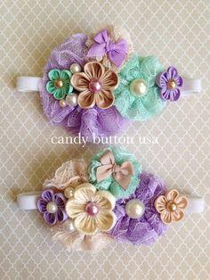 Fabric Flower Headbands, Lace Headbands, Diy Headband, Baby Girl Headbands, Fabric Flowers, Newborn Hair Bows, Girl Hair Bows, Baby Girl Hair Accessories, Mint Flowers