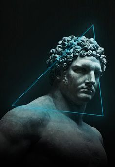 Sculpture inside of blue neon triangle. Iphone Wallpaper King, Hype Wallpaper, Sculpture Art, Sculptures, Arte Dope, Astronaut Wallpaper, Arte Punk, Greek Mythology Art, Arte Robot
