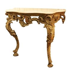 Century Carved Console Table with Marble Top 1 Rococo Furniture, French Furniture, Vintage Furniture, Wood Furniture, Marble Carving, Wood Bike, Iron Decor, Furniture Inspiration, Marble Top