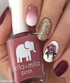 50 Hottest Gold Nail Design Ideas to Spice Up Your Inspirations - Trendy Romantic Rose Accent Nails - Accent Nail Toes, Accent Nail Designs, Glitter Accent Nails, Gold Nail Designs, Flower Nail Designs, Flower Nail Art, Colorful Nail Designs, Colorful Nails, Red Nails