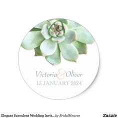Elegant Succulent Wedding Invitation Classic Round Sticker Cute, lovely succulent plant designed on custom Wedding Save the Date Stickers. The elegant look of the botanical design will be amazing for a SPRING GARDEN WEDDING | BOHO CHIC COUNTRY WEDDING or MODERN SUCCULENT THEMED WEDDING! All the sample text can be fully customized with your own wording. Feel free to change the sizes, typefaces & colors of the text as well.