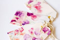 Gift Tag Labels - Watercolour Flowers - Recycled Card <3