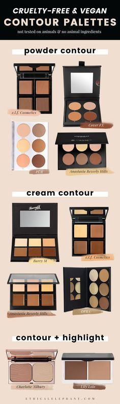 Sculpt and define your face with these cruelty-free and vegan contour kits and palettes! Not tested on animals and no animal ingredients