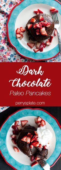 Dark Chocolate Paleo Pancakes | paleo recipes | Valentine's Day recipes | Valentine's Day Breakfast | paleo pancake recipes | breakfast recipes | brunch recipes | gluten-free recipes | dairy free recipes | perrysplate.com