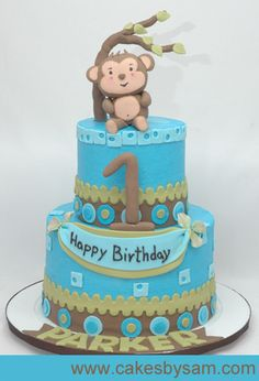 Monkey Theme 1st Birthday Party | Super Cute First Birthday Cakes, Boys and Girls