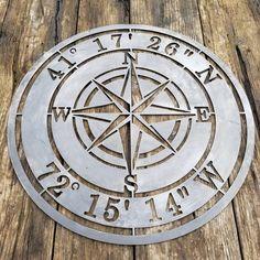 Compass Rose and Coordinates, Custom Metal Sign, Metal Compass – Maker Table Plasma Torch, Cnc Plasma Table, Personalized Metal Signs, Custom Metal Signs, Table Maker, Make Design, Design Design, Shop Signs, Compass