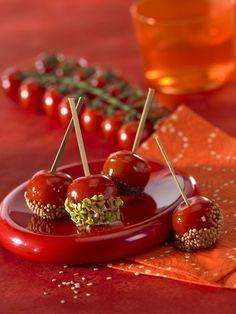Tomates cerise surprise, comme des pommes d'amour, suivez la recette super facile