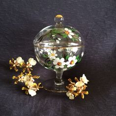 Hand Painted Floral Centerpiece Vintage Glass Candy Dish Lidded Compote Covered Pedestal Bowl Tea Light Candle Holder White Floral Dish by pammaggio on Etsy