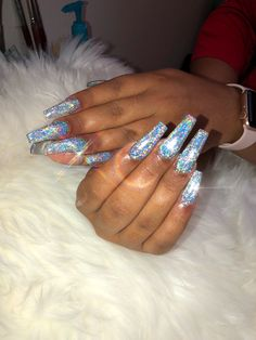 Top Nails Design My Second Favorite Prom Nails, Long Nails, Hair And Nails, My Nails, Fire Nails, Holographic Nails, Gorgeous Nails, Trendy Nails, Nails On Fleek