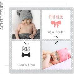 Geboortekaartjes tweelingen - Tweeling vierluik - 1