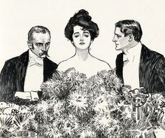 1901 Antique Charles Dana Gibson Print. Center of Attention