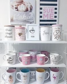My favorite spot in the kitchen: a part of my mugs collection. Yes, I have more mugs . Coffee Jars, Coffee Bar Home, Cute Coffee Mugs, Coffee Corner, Cute Kitchen, Kitchen Decor, Deco Tumblr, Pretty Mugs, Cute Cups