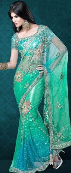 Teal sari| wedding saree| bridal sari