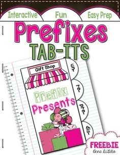 """FREE! This Prefix Presents Tab-Its resource requires VERY LITTLE PREP...but packs a punch for your students to MASTER the Language skills they need!   * 1 Prefixes Tab-Its Booklet  The students will:  * define what the word """"prefix"""" means  * create 6 different words for EACH of the 4 prefixes on the  Tab-Its Booklet  * write a sentence using a NEW word they made  Prefixes included are:  * un prefix * re prefix * pre prefix * dis prefix"""