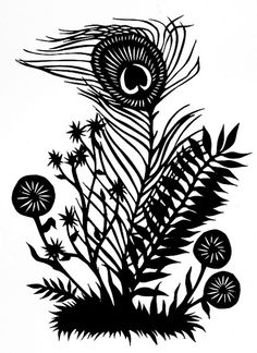 Peacock Flower Paper Cutting; this would be really neat to do as a  silhouette painting or something