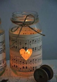Fill your Mason jars with short strings of fairy lights for a magical source of light.