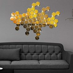 Efaster 12Pcs 3D Mirror Hexagon Vinyl Removable Wall Sticker Decal Home Decor Art DIY Gold * Continue to the product at the image link.