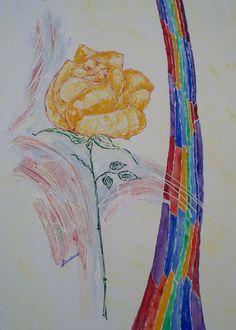 gelbe rose mit regenbogen