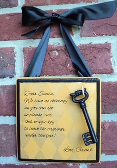 I love this ides for if we are ever in a house without a fireplace. Santa Magic Key. $8.00, via Etsy.