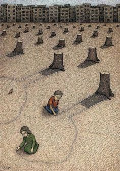 children are drawing the shape of a tree out of the stumps of trees. This picture is saying, the children in future generations won't understand what is was when trees were in the world because, we are destroying them and chopping them down. The type of satire being used id juvenile hateandanger.wordpress.com