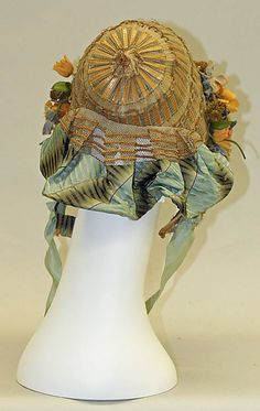 Back view of straw and horsehair braid bonnet with silk trim, French, ca 1850s. MET
