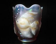 Fenton Art Glass Atlantis Fish Vase Hand Painted Pink Opalescent Signed Gaskins | eBay
