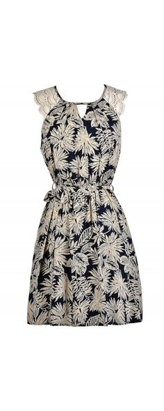 Lily Boutique In The Palm Of Your Hand Printed Navy and Beige Dress, $32 Cute…