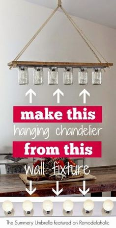 DIY-rustic-mason-jar-and-wood-hanging-chandelier-pendant-light-The-Summery-Umbre. - Before After DIY Diy Luminaire, Diy Lampe, Hanging Chandelier, Hanging Pendants, Chandeliers, Chandelier Ideas, Chandelier Lighting, Chandelier Makeover, Diy Hanging