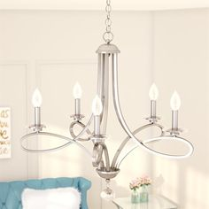 Alcott Hill Symonds 5 - Light Candle Style Classic/Traditional Chandelier with Crystal Accents Farmhouse Chandelier, Rustic Chandelier, Rustic Lighting, Cool Lighting, Lighting Ideas, Farmhouse Lighting, Globe Chandelier, 5 Light Chandelier, Chandelier Shades