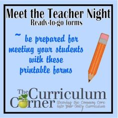 Meet the Teacher Night Printables. I like the idea of the estimate jar--fill a jar with erasers, pencils, etc. and have students guess how many items are in the jar.