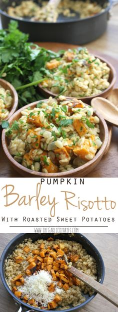 Pumpkin Barley Risotto with Roasted Sweet Potatoes - The PERFECT Thanksgiving side dish! Super easy and absolutely delicious.  www.TheGarlicDiaries.com