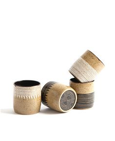 Geometric Stoneware Whiskey Cups by Little Bear Pots