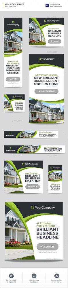 #Real #Estate Agency #Banners - Banners & Ads Web Elements Download here: https://graphicriver.net/item/real-estate-agency-banners/19323872?ref=alena994