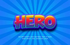 Hero cartoon text style effect Premiu. 1 Word Quotes, Wicker Patio Furniture Sets, 3d Text Effect, Layer Style, Superhero Movies, Text Style, All Icon, Text Effects