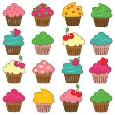 Cupcakes Clip Art Clipart Commercial and Personal by PinkPueblo. , via Etsy.