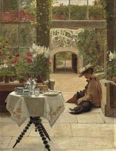 "Edith Hayllar (1860-1948), ""Five o'clock tea"" (1895)"