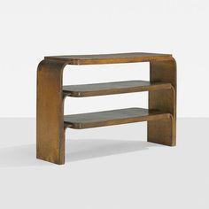 Alvar Aalto shelf, model 111 Artek Finland, 1933 birch, laminated birch 33 w x 11.75 d x 21 h inches Stamped manufacturer's mark to underside: [Aalto Design Made in Finland].
