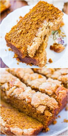 Soft Vegan Pumpkin Bread with Brown Sugar Streusel Crust - You won't miss the eggs or the butter! I'm not vegan, but I had this for Thanksgiving and it was the best pumpkin bread I've ever had Pumpkin Recipes, Fall Recipes, Pumpkin Cake Healthy Recipe, Pumpkin Chocolate Chip Muffins, Pumpkin Spice Syrup, Pumpkin Butter, Vegan Bread, Gluten Free Vegan Pumpkin Bread, Vegan Sweets