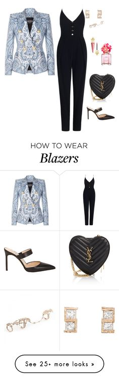 """""""Untitled #2672"""" by janglin725 on Polyvore featuring Zimmermann, Balmain, Manolo Blahnik, Yves Saint Laurent, Nak Armstrong, Christian Louboutin and Marc Jacobs"""