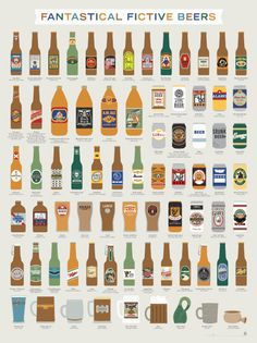Fantastical Fictive Beers--illustrated selection of 71 beers from some of the greatest movies, books, and TV shows ever…and, okay, even a few of the not-so-greatest.  from Pop Chart Labs