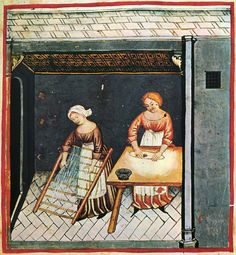 Women making pasta wear linen aprons over their gowns. Their sleeves are unbuttoned at the wrist and turned up out of the way, late 14th century