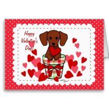 Dachshund Valentine Cartoon Greeting Cards