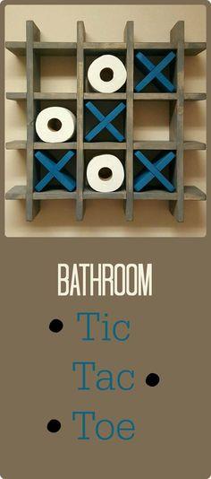 Bathroom Tic Tac Toe - Made to order - Toilet paper holder - Toilet paper Tic Tac Toe - Pallet Wall art - Floating shelf - Decor - Farmhouse  #ad #etsy