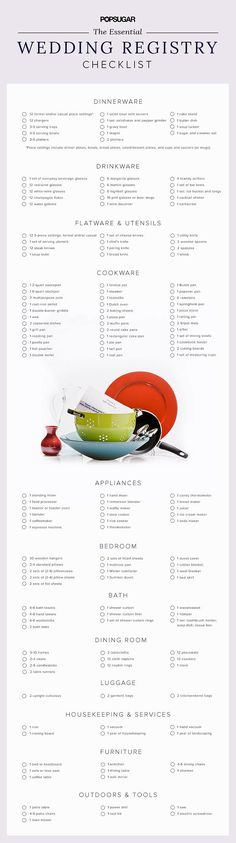 Your Essential Wedding Registry Checklist While getting engaged can be the happiest moment of your l Plan Your Wedding, Budget Wedding, Wedding Tips, Wedding Details, Wedding Planner, Wedding Blog, Wedding Venues, Diy Wedding, Destination Wedding
