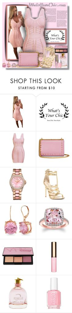 """""""WhatsYourChic.com  - Contest!"""" by sarahguo ❤ liked on Polyvore featuring Gucci, Juicy Couture, Chinese Laundry, Betsey Johnson, NARS Cosmetics, Clarins, Lanvin and Essie"""