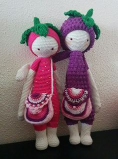 ERNA the strawberry & BERT the blackberry made by Betty D. / crochet pattern by lalylala