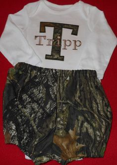 Infant Boy's Camo Letter Applique with Monogram Bodysuit and Realtree AP Fabric Camo Diaper Cover Set Size NB-18M