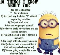 No matter how many times you watch the funny faces of these minions each time they look more funnier…. So we have collected best Most funniest Minions images collection . Read Minions images with Quotes-Humor Memes and Jokes Funny Minion Pictures, Funny Minion Memes, Minions Quotes, Funny Pranks, Funny Jokes, Minions Images, Funny Images, Funny Sayings, Minion Love Quotes